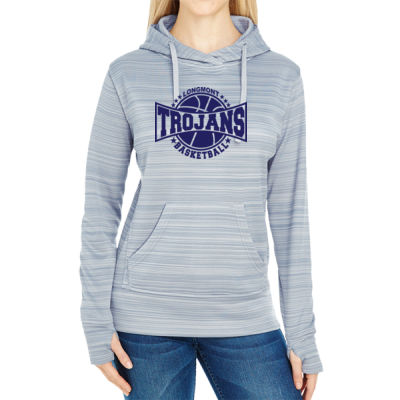 LHS Basketball - JAmerica Ladies Poly Fleece Striped Pullover Hoodie Thumbnail