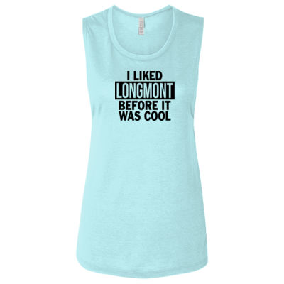 I Liked Longmont Before It Was Cool - Ladies' Flowy Scoop Muscle Tank - Dark Thumbnail