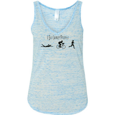 I See Crazy People Female Triathlon Icons - Ladies' Flowy V-Neck Tank Thumbnail