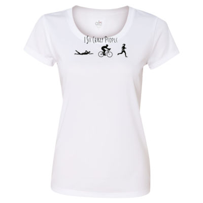I See Crazy People Female Triathlon Icons - Light ALO Sport Ladies' Polyester T-Shirt Thumbnail