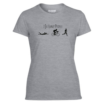 I See Crazy People Female Triathlon Icons - Light Ladies Ultra Performance 100% Performance T Shirt Thumbnail