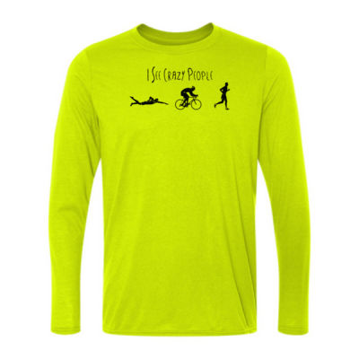 I See Crazy People Male Triathlon Icons - Light Long Sleeve Ultra Performance 100% Performance T Shirt Thumbnail