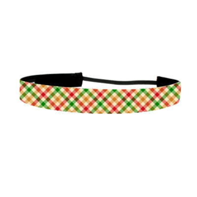 Red Green Tan Crosshatch - Non Slip Adjustable Headband Thumbnail
