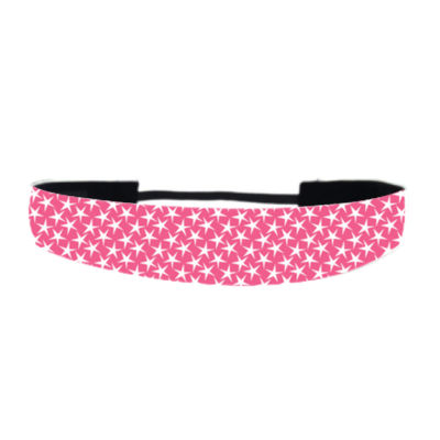 Hot Pink with White Stars - Non Slip Adjustable Headband Thumbnail