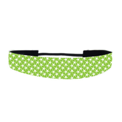 Green with White Stars - Non Slip Adjustable Headband Thumbnail